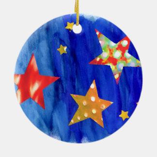 Les étoiles dans l'ornement lumineux de Noël de Ornement Rond En Céramique