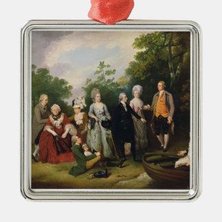 Les familles d'Oliver et de salle dans un jardin, Ornement Carré Argenté