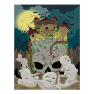 Les fantômes de château de crâne volent sous la poster