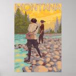 Les femmes pilotent la pêche - Montana Posters