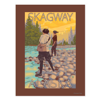 Les femmes pilotent la pêche - Skagway, Alaska Cartes Postales