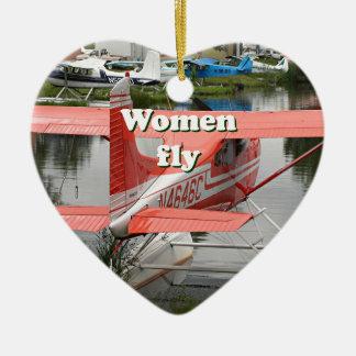 Les femmes volent : avion 23, Alaska de flotteur Ornement Cœur En Céramique