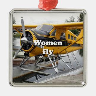 Les femmes volent : avion de flotteur, capot de ornement carré argenté