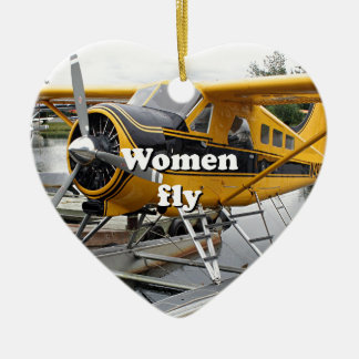 Les femmes volent : avion de flotteur, capot de ornement cœur en céramique