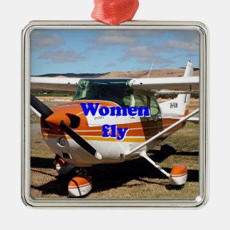 Les femmes volent : avions à haute voilure ornement carré argenté