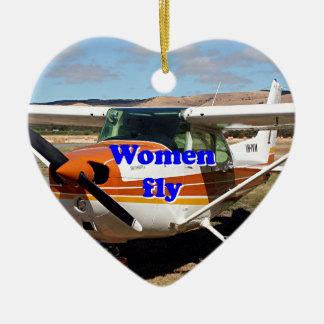 Les femmes volent : avions à haute voilure ornement cœur en céramique