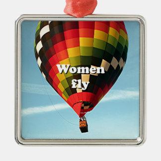 Les femmes volent : ballon à air chaud ornement carré argenté
