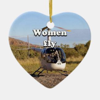 Les femmes volent : Hélicoptère 2 (blancs) Ornement Cœur En Céramique