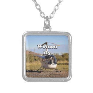 Les femmes volent : Hélicoptère 2 (blancs) Pendentif Carré