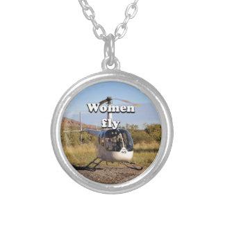 Les femmes volent : Hélicoptère 2 (blancs) Pendentif Rond