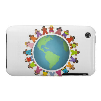 Les figurines ethniques multi encerclent le globe coque Case-Mate iPhone 3