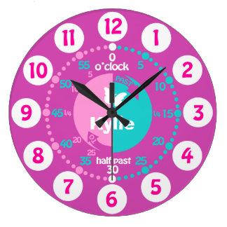 Les filles apprennent à dire à temps l'horloge grande horloge ronde