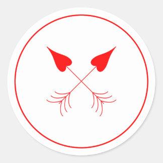 Les flèches Las Vegas du cupidon de coeurs Sticker Rond