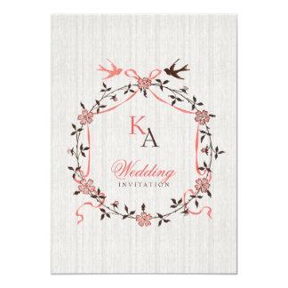 Les fleurs de cerisier vintages avalent le carton d'invitation  12,7 cm x 17,78 cm