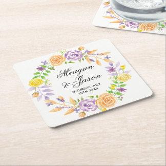 Les fleurs de dessous de verre épousant dessous-de-verre carré en papier