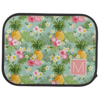 Les fleurs et les ananas tropicaux | ajoutent tapis de sol