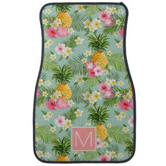 Les fleurs et les ananas tropicaux   ajoutent tapis de sol