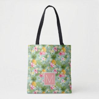 Les fleurs et les ananas tropicaux | ajoutent tote bag