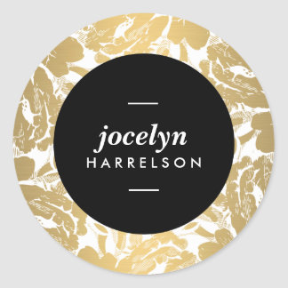 Les fleurs modernes d'or ont personnalisé des sticker rond
