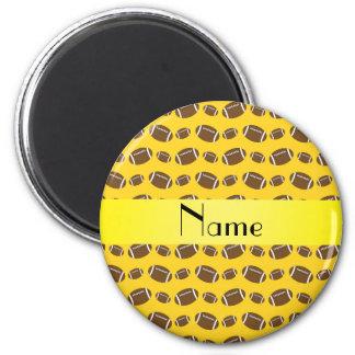 Les football jaunes nommés personnalisés magnet rond 8 cm