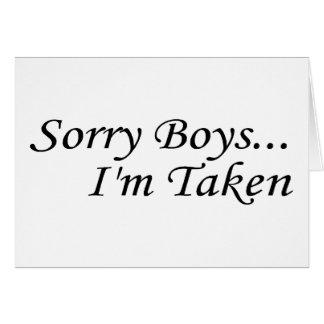 Les garçons désolés, je suis pris cartes de vœux