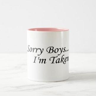 Les garçons désolés, je suis pris mug bicolore