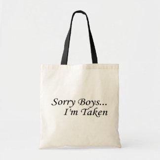 Les garçons désolés je suis pris sacs en toile