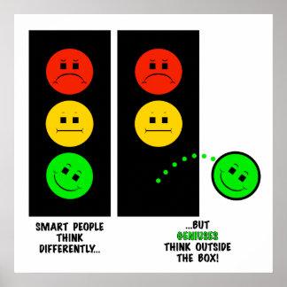 Les génies déprimés de feu d'arrêt pensent en poster
