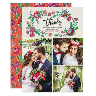 Les gens fleurissent le Merci | | l'épousant de | Carton D'invitation 12,7 Cm X 17,78 Cm