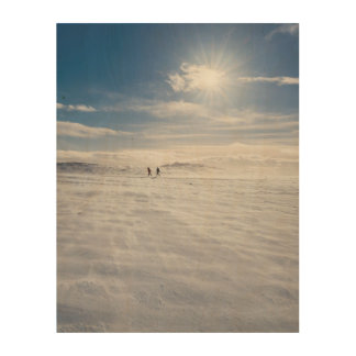 Les gens marchant au-dessus de la neige, Islande Impression Sur Bois