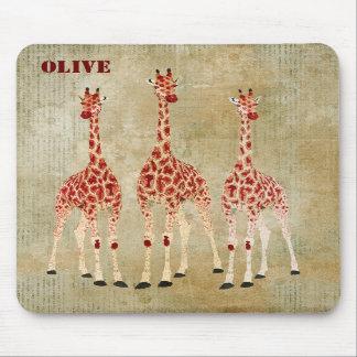 Les girafes de rose rouge ont personnalisé Mousepa Tapis De Souris