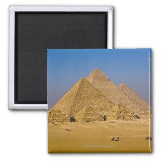 Les grandes pyramides de Gizeh, Egypte Magnet Carré
