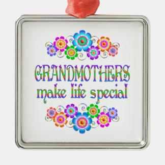 Les grands-mères font le Special de la vie Ornement Carré Argenté