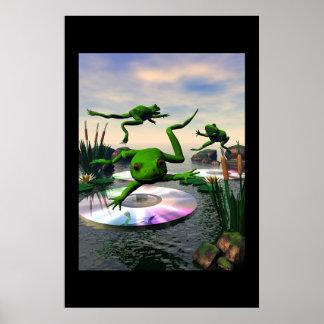 Les grenouilles sautant sur les protections de lis posters