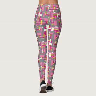 """Les guêtres avec des """"blocs de gris et de rose"""" leggings"""