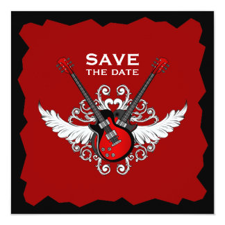 Les guitares de rock sauvent l'invitation de date carton d'invitation  13,33 cm