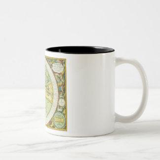 Les hémisphères antiques du monde, plaquent 94 de mug bicolore