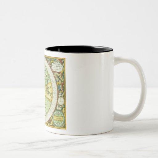 Les hémisphères antiques du monde, plaquent 94 de  mug à café