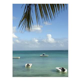 Les Îles Maurice, Baie grand. Bateaux ancrés dans Cartes Postales