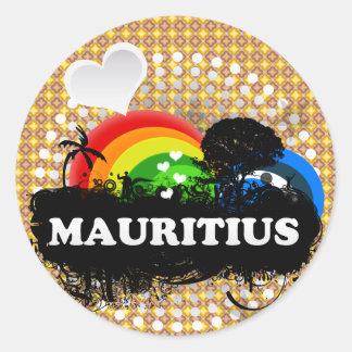 Les Îles Maurice fruitées mignonnes Adhésifs Ronds