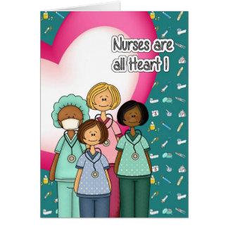 Les infirmières sont tout le coeur. Cartes de