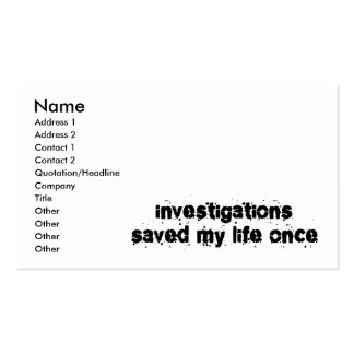 Les investigations ont sauvé ma vie par le passé modèles de cartes de visite