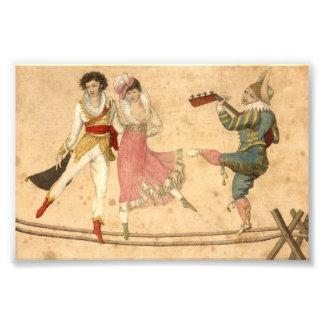 Les jeunes dansant et chantant, dessin vintage impression photo