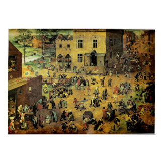 """Les """"jeux des enfants"""" de Pieter Bruegel - 1560 Affiches"""