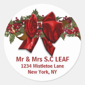Les joints d'adresse de Noël de famille Sticker Rond