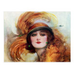 Les jolies années 1920 de mode d'aileron de femme cartes postales
