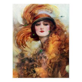 Les jolies années 1920 de mode d'aileron de femme carte postale