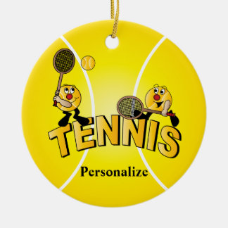 Les joueurs idiots de balle de tennis   ornement rond en céramique