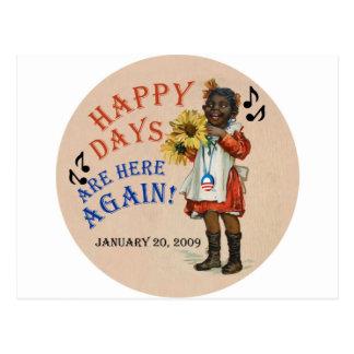 Les jours heureux americana noirs d'Obama sont ici Carte Postale