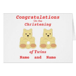 Les jumeaux de baptême de félicitations ajoutent carte de vœux
